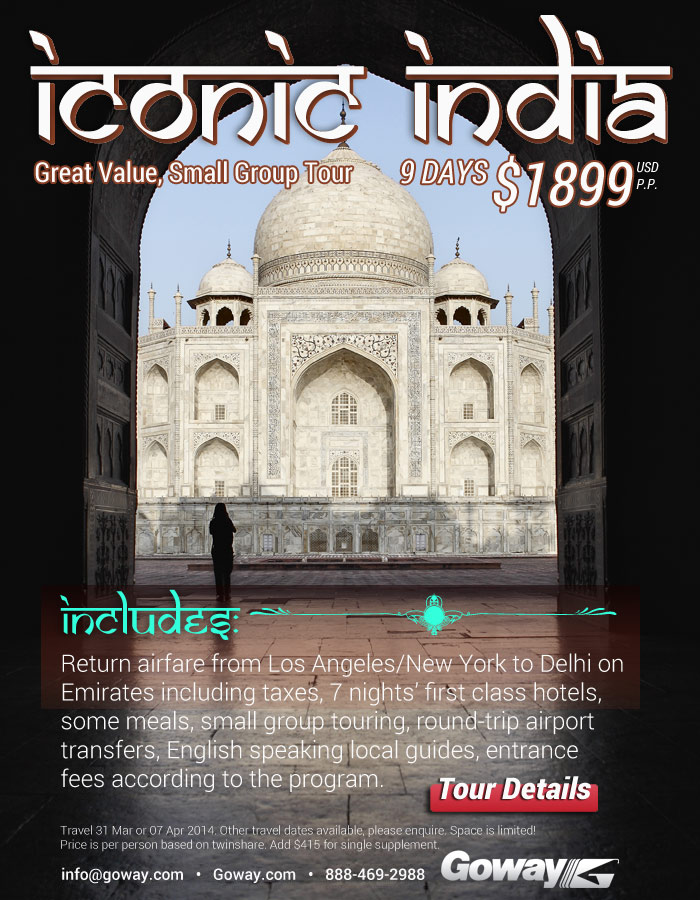 Iconic India - from $1899US with many includes. Great Value, Small Group Tour!