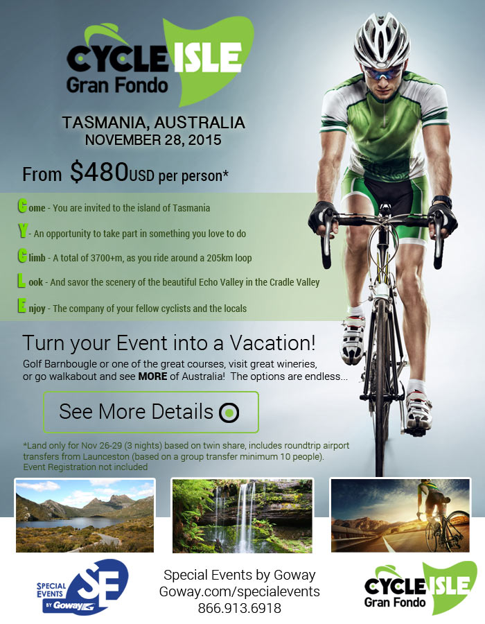Gran Fondo - $480 US per person - Turn your event into a VACATION! See site for details.