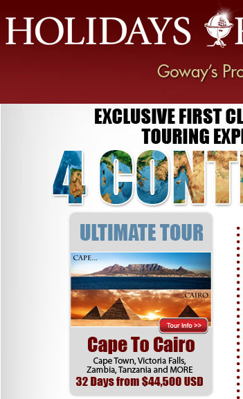 Ultimate Tour - Cape to Cairo - From $44500US